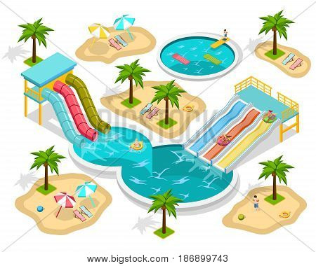 Isometric aqua park composition at the beach with entertainments and three pools vector illustration