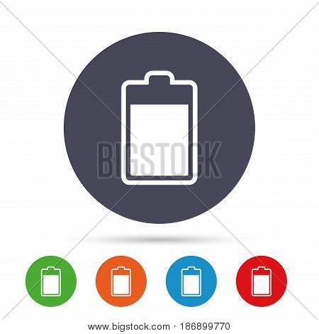 Battery level sign icon. Electricity symbol. Round colourful buttons with flat icons. Vector
