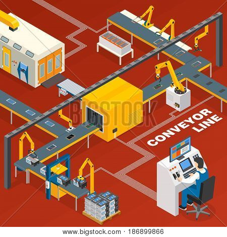 Conveyor line and operator isometric concept with machinery symbols on red background vector illustration