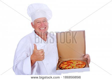Pizza Chef holds a fresh baked pizza. isolated on white. room for text.