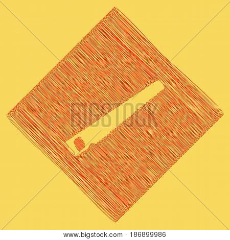 Saw simple sign. Vector. Red scribble icon obtained as a result of subtraction rhomb and path. Royal yellow background.