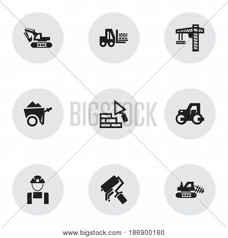 Set Of 9 Editable Building Icons. Includes Symbols Such As Employee, Excavation Machine, Scrub And More. Can Be Used For Web, Mobile, UI And Infographic Design.