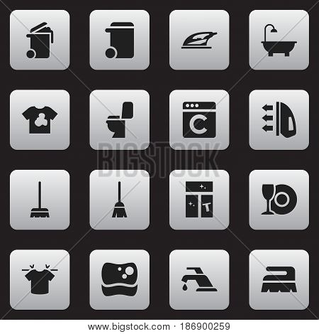 Set Of 16 Editable Hygiene Icons. Includes Symbols Such As Dustbin, Plate, Steam And More. Can Be Used For Web, Mobile, UI And Infographic Design.