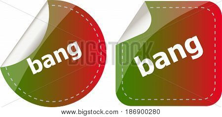 Bang Word On Stickers Button Set, Business Label
