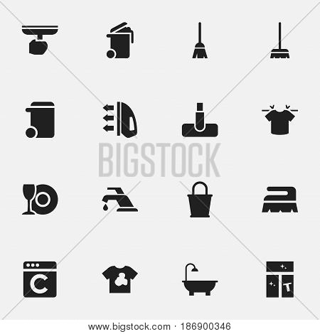 Set Of 16 Editable Cleaning Icons. Includes Symbols Such As Dustbin, Steam, Container And More. Can Be Used For Web, Mobile, UI And Infographic Design.