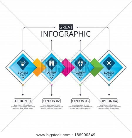 Infographic flowchart template. Business diagram with options. Beach holidays icons. Cocktail, human footprints and swimming trunks signs. Summer sun symbol. Timeline steps. Vector
