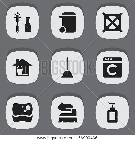 Set Of 9 Editable Hygiene Icons. Includes Symbols Such As Bucket With Mop, Dustbin, Scrub And More. Can Be Used For Web, Mobile, UI And Infographic Design.