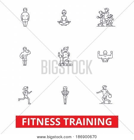 Fitness class gym, workout, running, crossfit, sports, personal trainer, training line icons. Editable strokes. Flat design vector illustration symbol concept. Linear signs isolated on white background