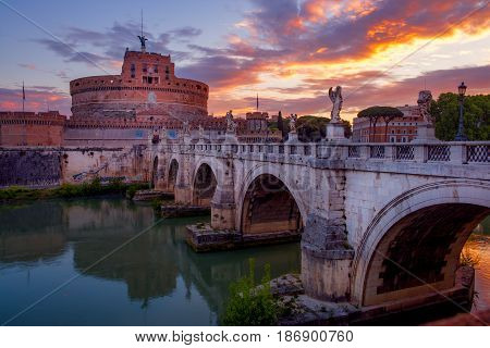 Scenic View Of Castle Of St. Angelo In Rome At Sunrise