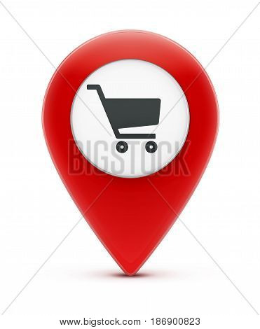 Vector illustration of glossy red map location pointer icon with shopping cart icon