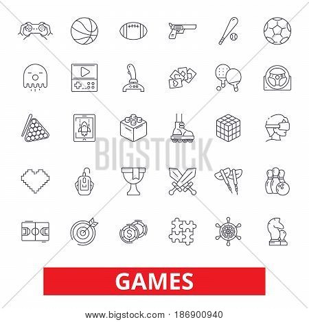 Video games, sports, hobby, passion, console play, online gaming, gambling line icons. Editable strokes. Flat design vector illustration symbol concept. Linear signs isolated on white background