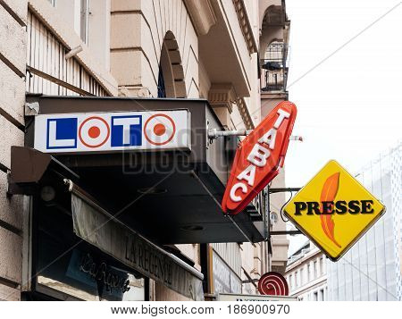 STRASBOURG FRANCE - MAY 7 2017: Loto Tabac Presse signage aboe tabacconist store in France