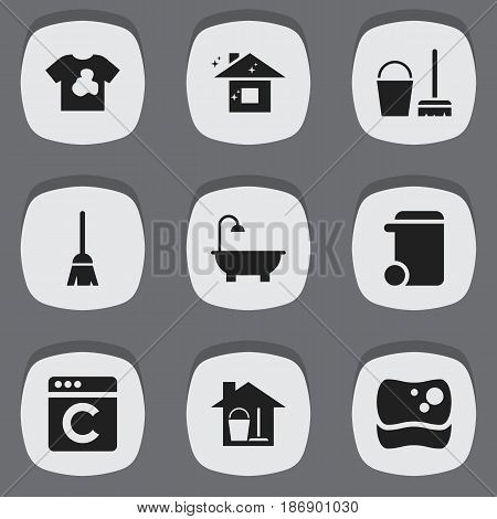 Set Of 9 Editable Cleanup Icons. Includes Symbols Such As Dustbin, Unclean Blouse, Bucket With Mop And More. Can Be Used For Web, Mobile, UI And Infographic Design.