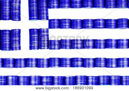 greek money flag constructet from stacks of coins