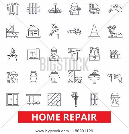 Home repair, house improvement, renovation, handyman, construction, remodeling line icons. Editable strokes. Flat design vector illustration symbol concept. Linear signs isolated on white background