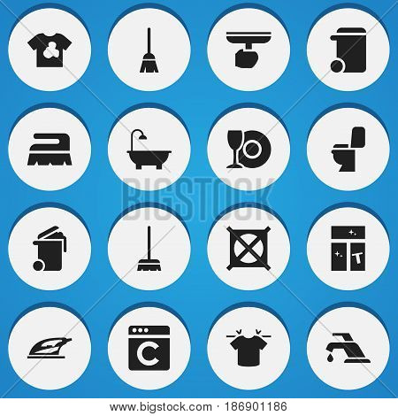 Set Of 16 Editable Cleaning Icons. Includes Symbols Such As Plate, Broomstick, Whisk And More. Can Be Used For Web, Mobile, UI And Infographic Design.