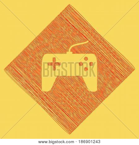 Joystick simple sign. Vector. Red scribble icon obtained as a result of subtraction rhomb and path. Royal yellow background.