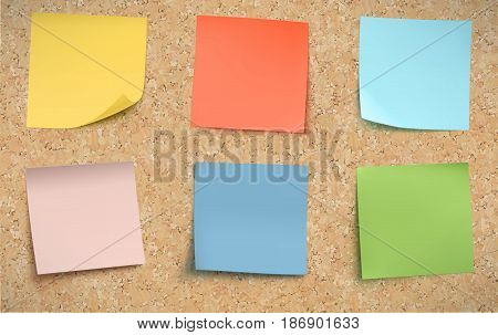 Vector illustration of multicolor post it notes on detailed cork bulletin board.
