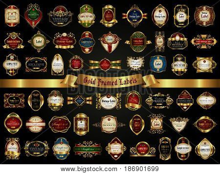 Large collection of colorful gold-framed labels in vintage style on a black background