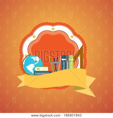 Illustration of blank poster to the Teacher's Day on the gradient orange background with seamless pattern.