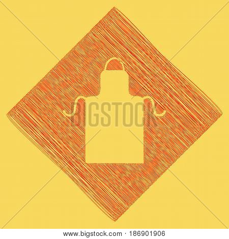 Apron simple sign. Vector. Red scribble icon obtained as a result of subtraction rhomb and path. Royal yellow background.