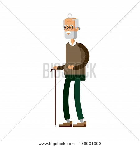 Old man with glasses and walkins cane. Vector flat character on white background. Senior citizen. Elderly person.