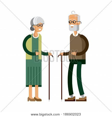 Retired elderly senior age couple, flat vector character design. Grandpa and grandma standing full length smiling. Older generation with walking stick and paddle walker isolated on white background