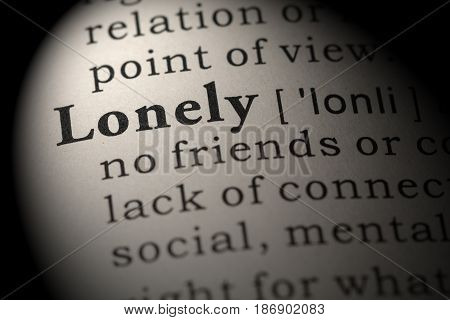 Fake Dictionary Dictionary definition of the word lonely. including key descriptive words.
