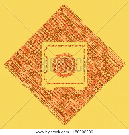 Safe sign illustration, crib, vault, lock box. Vector. Red scribble icon obtained as a result of subtraction rhomb and path. Royal yellow background.
