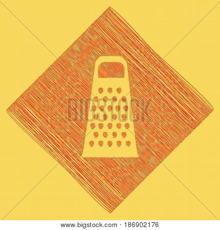 Cheese grater sign. Vector. Red scribble icon obtained as a result of subtraction rhomb and path. Royal yellow background.
