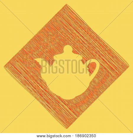 Tea maker Kitchen sign. Vector. Red scribble icon obtained as a result of subtraction rhomb and path. Royal yellow background.