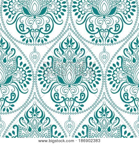 Seamless Indian floral paisley pattern. Ethnic Mandala ornament. Vector Henna tattoo style. Vintage decorative round elements and lace frame. Hand drawn background. Islam Arabic Indian Pakistan motifs.