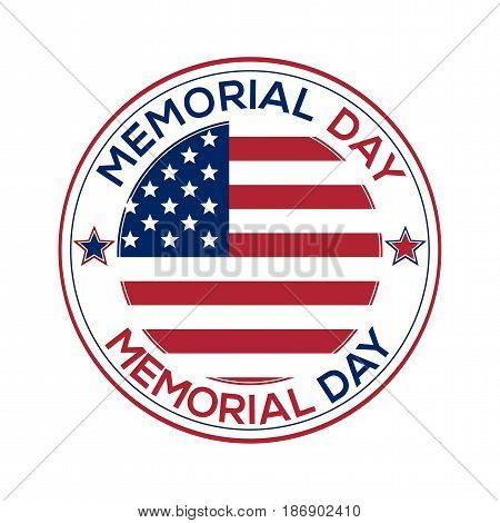 Round banner for Memorial Day. Memorial Day design over white background. Federal holiday in the United States of America. Vector illustration
