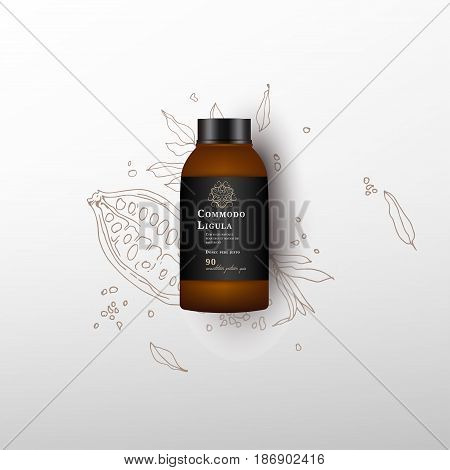 Realistic white cosmetic cream container. Mock up bottle. Gel, powder, balsam, with balck design label. Containers for bulk mixtures. Cocoa fruit background