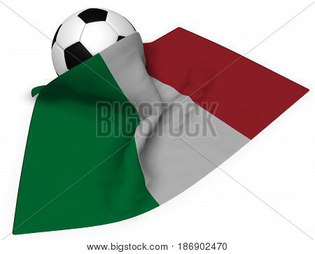 soccer ball and flag of italy - 3d rendering