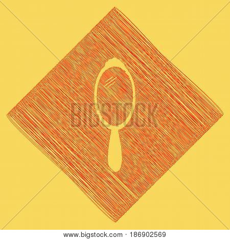 Hand Mirror sign. Vector. Red scribble icon obtained as a result of subtraction rhomb and path. Royal yellow background.