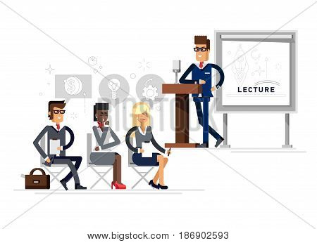 Modern business teacher giving lecture on tribune with microphone or presentation to a group of employees. Standing in front of whiteboard. Modern flat style vector illustration.