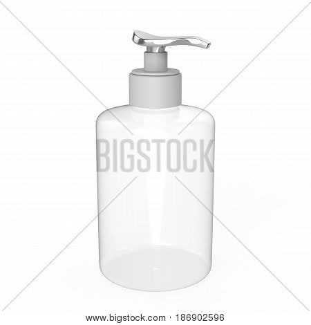 3D illustration white plastic bottle with liquid soap on a white background