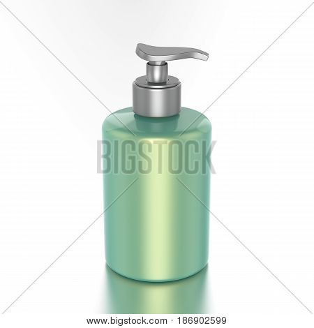 3D illustration green bottle with liquid soap on a white background