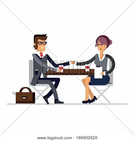 Successful business negotiations. Closed deal handshake over a desk. Flat style vector illustration. Deal between the business woman and business man.