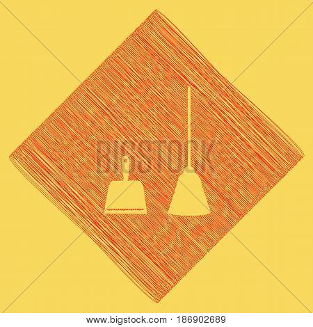 Dustpan vector sign. Scoop for cleaning garbage housework dustpan equipment. Vector. Red scribble icon obtained as a result of subtraction rhomb and path. Royal yellow background.