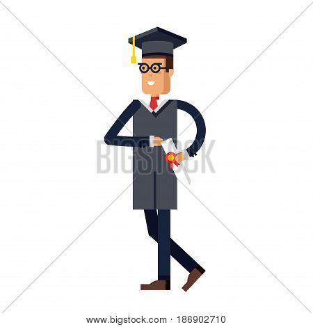 Flat modern graduation man successful graduate students education knowledge school university college graduation guy. Happy graduation male student uniform throwing caps vector.