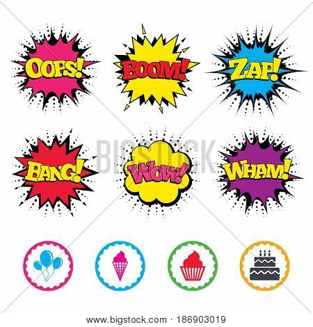 Comic Wow, Oops, Boom and Wham sound effects. Birthday party icons. Cake with ice cream signs. Air balloons with rope symbol. Zap speech bubbles in pop art. Vector
