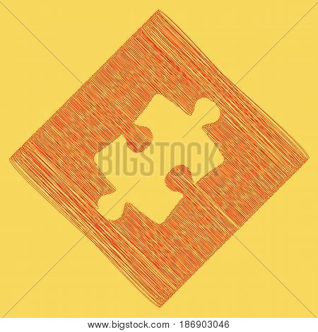 Puzzle piece sign. Vector. Red scribble icon obtained as a result of subtraction rhomb and path. Royal yellow background.