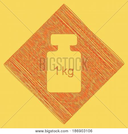 Weight simple sign. Vector. Red scribble icon obtained as a result of subtraction rhomb and path. Royal yellow background.