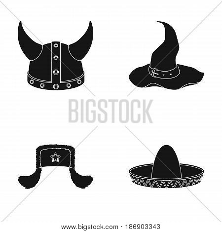 Sombrero, hat with ear-flaps, helmet of the viking.Hats set collection icons in black style vector symbol stock illustration .