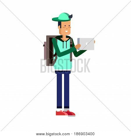Illustration of a young handsome man in casual clothes or more eccentric hipster fashion with backpack and gadgets. Man character in white background. Vector fashion man