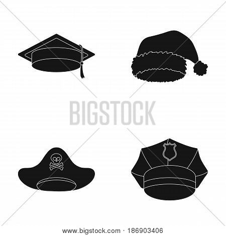 Graduate, santa, police, pirate. Hats set collection icons in black style vector symbol stock illustration .