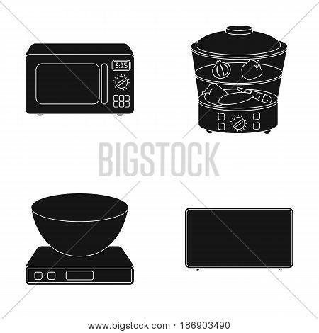 Steamer, microwave oven, scales, lcd tv.Household set collection icons in black style vector symbol stock illustration .