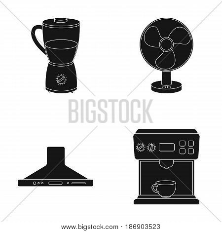 Blender, extractor and other equipment.Household set collection icons in black style vector symbol stock illustration .